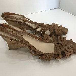 Leather Upper Wedge Heel Sandals - Size 8 1/2M